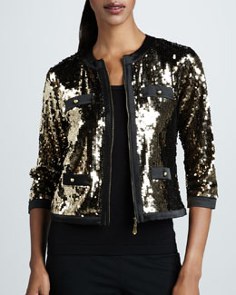 Michael Simon Sequined Jacket & Solid Knit Shell, Women's