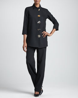 Caroline Rose Stretch-Gabardine Travel Jacket & Pants, Petite