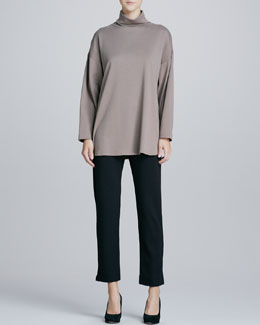 Joan Vass Oso Oversized Turtleneck Tunic & Slim Ponte Ankle Pants