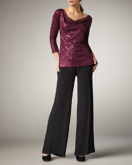 Eileen Fisher Stretch Sequined Top & Silk Wide-Leg Pants