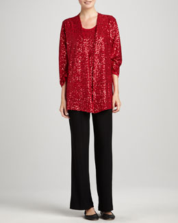Caroline Rose Sequined Jacket, Tank & Knit Straight-Leg Pants