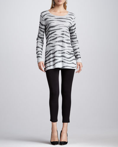 Joan Vass Animal Sequined Tunic & Cropped Jersey Leggings, Women's
