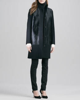 Vince Double-Face Melton Coat, Tricolor Sweater & Fitted Slim Twill Pants