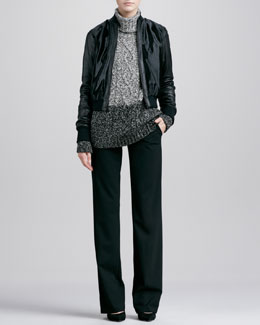 Vince Calf Hair Bomber Jacket, Color Twist Cable-Knit Turtleneck & Straight-Leg Pants