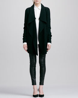 Vince Ribbed Drape-Collar Cardigan, Button-Down Silk Blouse & Contrast Leather/Suede Leggings