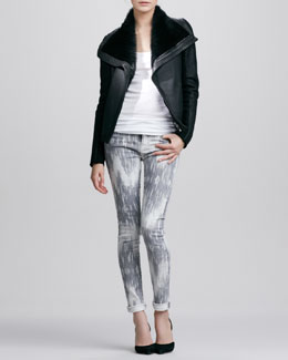 Vince Shearling-Lined Leather Jacket, Favorite Tank & Dylan Ikat Skinny Jeans