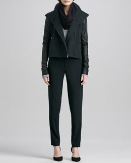 Vince Jacket with Leather Sleeves, Long-Sleeve Crewneck Shirt, Infinity Scarf & Stretch-Wool Trousers