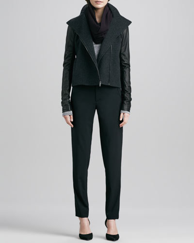 Jacket with Leather Sleeves, Long-Sleeve Crewneck Shirt, Infinity Scarf & Stretch-Wool Trousers