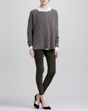 Chevron Crewneck Sweater, Button-Down Silk Blouse & Suede Leggings