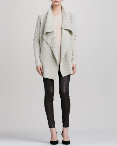 Vince Ribbed Drape-Collar Cardigan, Sheer Silk Tank & Contrast Leather/Suede Leggings