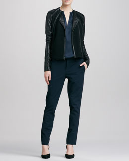 Vince Leather-Sleeve Collarless Jacket, Mixed Media Split-Neck Top & Slim Twill Trousers