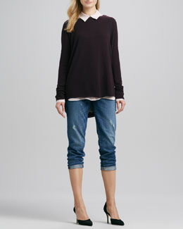 Vince Relaxed Crewneck Sweater, Button-Down Silk Blouse & Manny Boyfriend Jeans