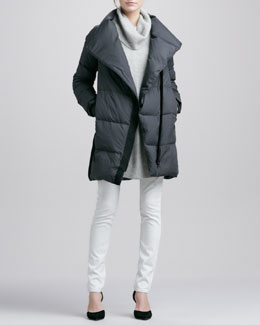 Vince Asymmetric Puffer Coat, Chevron-Knit Turtleneck Sweater & Dylan Skinny Jeans