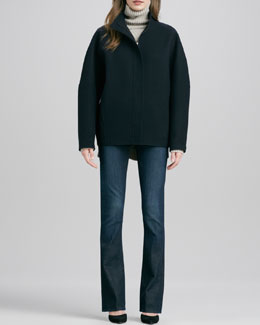 Vince Sculpted Double-Face Jacket, Traveling Rib-Knit Turtleneck & Taylor High-Rise Boot-Cut Jeans