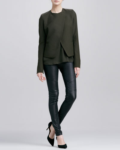 Vince Double-Faced Wool Jacket, Satin-V-Placket Silk Blouse & Moto Leather Pants