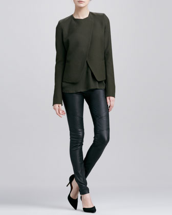 Double-Faced Wool Jacket, Satin-V-Placket Silk Blouse & Moto Leather Pants