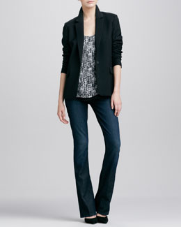 Vince Tailored Blazer, Double-Layer Printed Silk Tank & Taylor High-Rise Boot-Cut Jeans