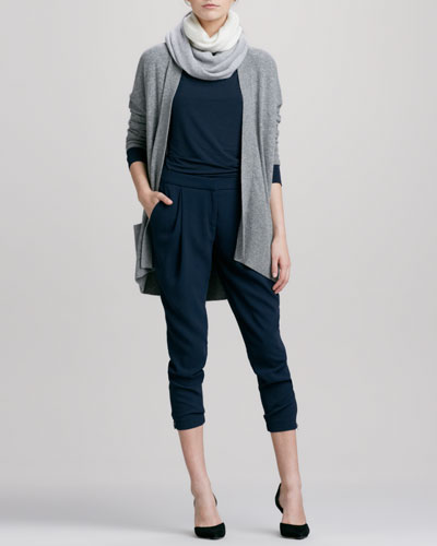 Long Open Cashmere Cardigan, Boat-Neck Long-Sleeve Tee, Stretch Wool Harem Pants & Colorblock Loop Scarf
