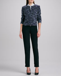 Magaschoni Leather-Trim Boucle Jacket, Embellished-Collar Top & Slim Silk Cargo Pants