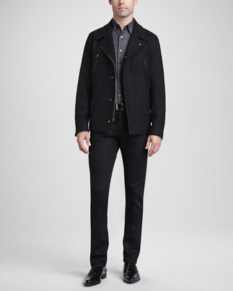 Zip-Placket Wool Coat, Gradated Plaid-to-Solid Sport Shirt & 5-Pocket Denim ...