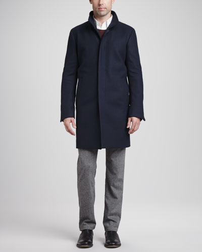Theory Belvin Coat, Alpaca-Wool Blend Sweater, Seamed-Front Dress Shirt & Wool-Blend 5-Pocket Pants