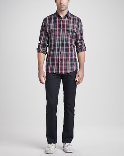 Theory Plaid Two-Pocket Sport Shirt & Basic 5-Pocket Stretch Twill Pants