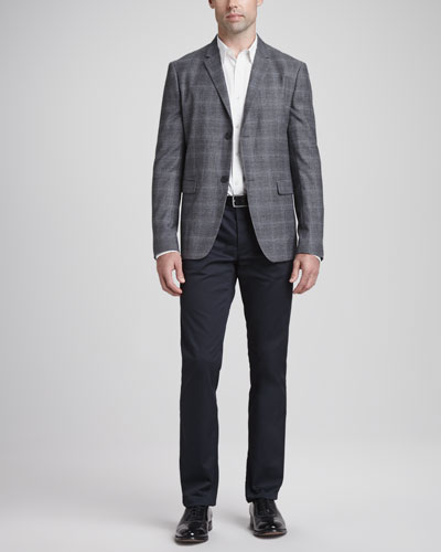 Theory Wool/Cashmere Plaid Sport Coat, Seamed-Front Woven Dress Shirt & Basic 5-Pocket Stretch-Twill Pants