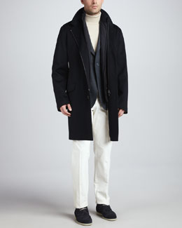 Loro Piana Cashmere Two-Button Blazer,   Dolce Vita Cashmere Turtleneck Sweater & Cotton/Cashmere Corduroy Pants