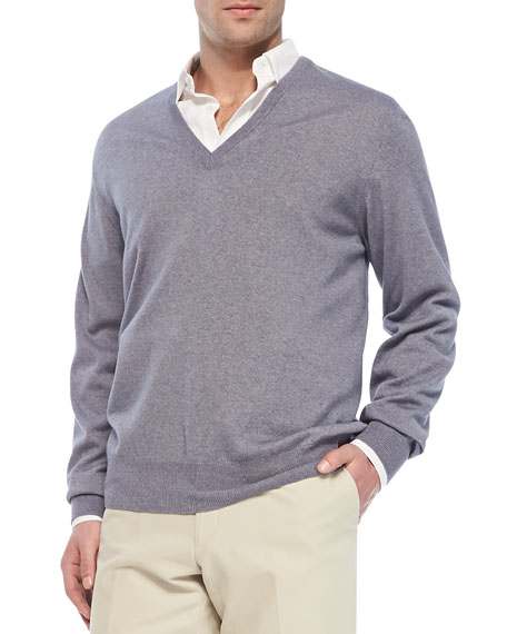Anytime V-Neck Sweater, Blue