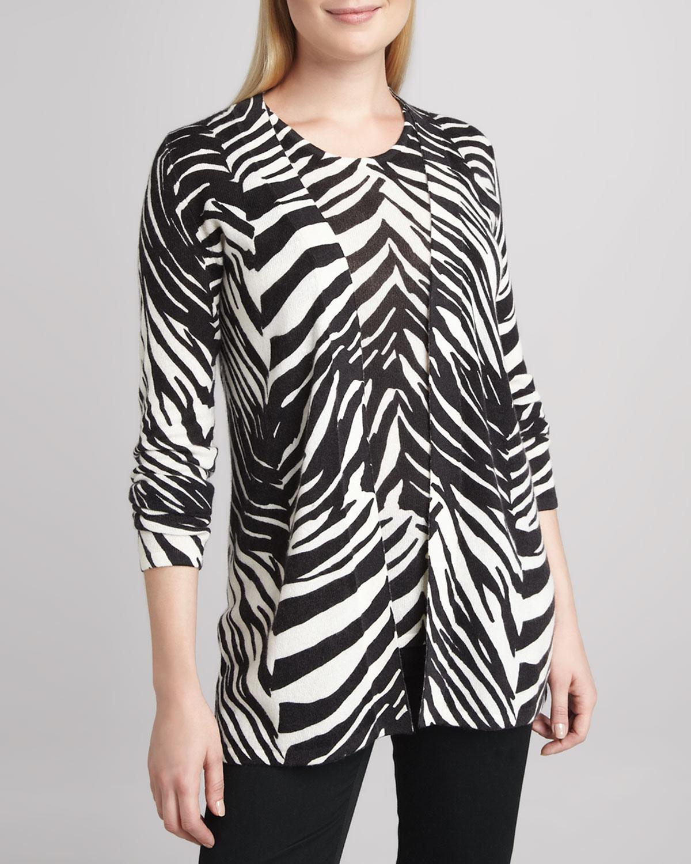 Zebra-Print Open Cashmere Cardigan & Shell
