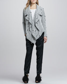 Alexis Taya Drape-Front Sweater, Muriel Perforated-Sleeve Top & Alana Slouchy Silk Pants