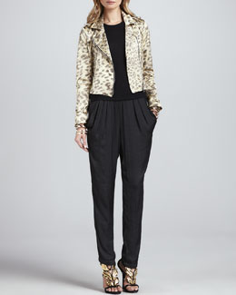 Alexis Tyler Leopard-Print Moto Jacket, Pippa High-Neck Top & Alana Slouchy Silk Pants