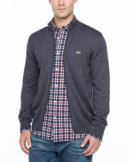 Lacoste Small-Plaid Long-Sleeve Shirt, Red/Blue & Full-Zip Lambswool Jersey, Granite