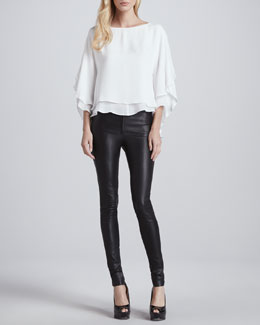 Alice + Olivia Hampton Layered Silk Tunic & Leather Leggings