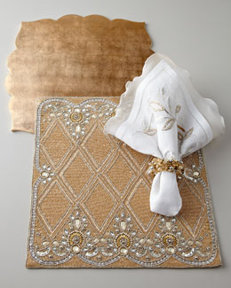 Kim Seybert Golden Placemats & White Napkins
