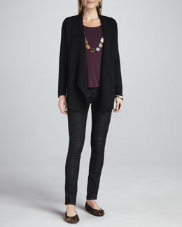Eileen Fisher Angled Open-Front Jacket, Cap-Sleeve Tee & Organic Soft Skinny Jeans, Women's
