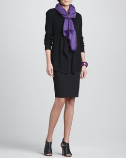 Eileen Fisher Ribbed Mixed-Texture Cardigan, Silk Jersey Long Camisole, Herringbone Wool/Silk Scarf & Ponte Knee-Length Pencil Skirt
