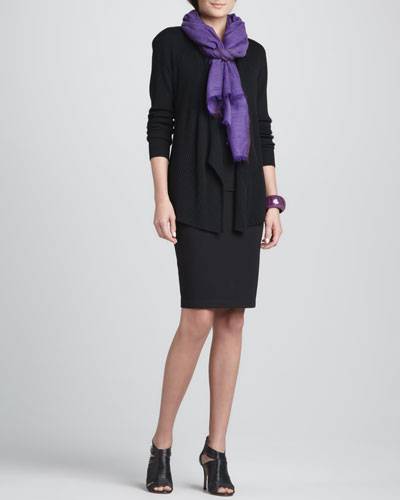 Eileen Fisher Ribbed Mixed-Texture Cardigan, Silk Jersey Long Camisole, Herringbone Wool/Silk Scarf & Ponte Knee-Length Pencil Skirt, Petite