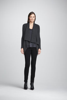 Eileen Fisher Waffle-Stitch Knit Cardigan, Mottled Linen-Wool Printed Scarf, Charmeuse V-Neck Tank & Stretch Ponte Skinny Jeans