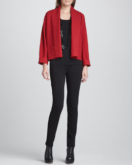Eileen Fisher Boiled Wool Kimono Jacket, Silk Jersey Long Camisole & Stretch Ponte Skinny Jeans