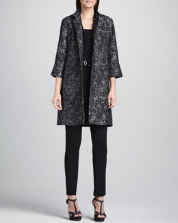 Eileen Fisher Satin Jacquard Long Jacket, Silk Jersey Long Tunic Tank & Slim Ponte Pants