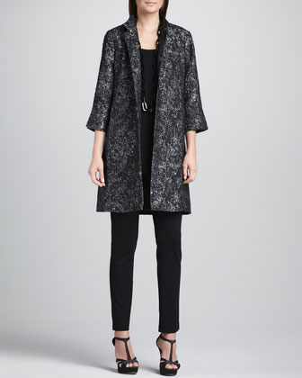 Satin Jacquard Long Jacket, Silk Jersey Long Tunic Tank & Slim Ponte ...