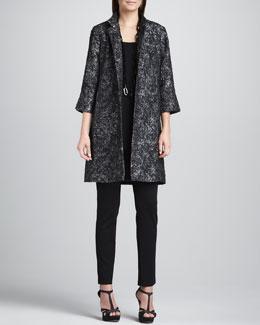 Eileen Fisher Satin Jacquard Long Jacket, Silk Jersey Long Tunic & Slim Ponte Pants, Petite