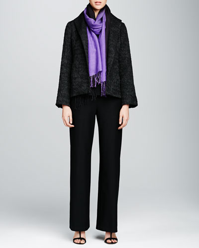 Eileen Fisher Jacquard High-Collar Jacket, Silk-Jersey Cap-Sleeve Tee, Silk Georgette Crepe Pants & Ombre Silk-Blend Scarf