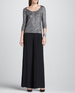 Eileen Fisher Shimmer Karma Knit Top & Silk Wide-Leg Pants, Women's
