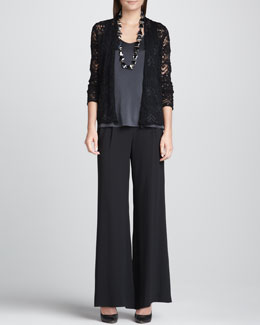 Eileen Fisher Wavy Wool Lace Cardigan, Charmeuse V-Neck Tank & Silk Wide-Leg Pants, Women's