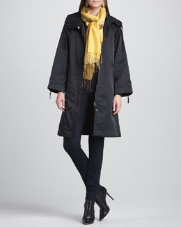 Eileen Fisher High-Collar Zip-Front Coat, Slim Jersey Top, Stretchy Jean Leggings & Ombre Silk-Blend Scarf