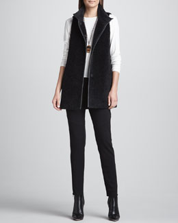 Eileen Fisher Stand Collar Wool/Alpaca Vest, Long-Sleeve Tee  & Ponte Skinny Ankle-Zip Pants
