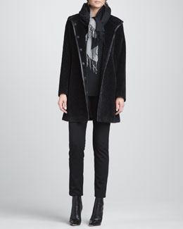 Eileen Fisher Faux-Fur Leather-Trim Coat, Slim Jersey Top, Slim Ponte Pants & Silk-Blend Scarf