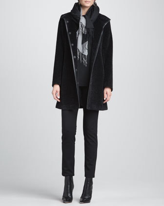 Faux-Fur Leather-Trim Coat, Slim Jersey Top, Slim Ponte Pants & Silk-Blend ...